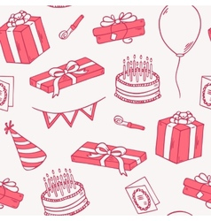 Outline style birthday party seamless pattern vector