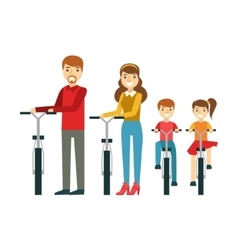 Parents And Kids With Bicycles In Park Happy vector