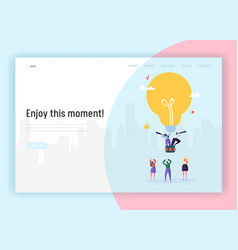 People on lightbulb flying airballoon concept vector