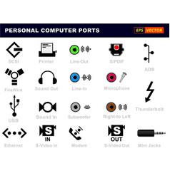 personal computer ports connectors or usb vector image