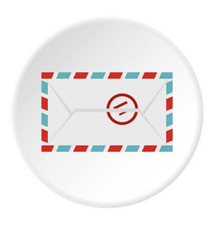 Postage envelope with stamp icon circle vector