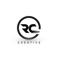 Rc brush letter logo design creative brushed vector