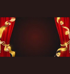 realistic red curtains golden ribbons and theater vector image