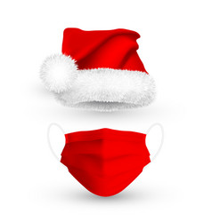 Red santa claus hat and medical face mask vector