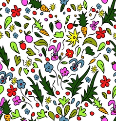 seamless pattern colorful garden with rabbits and vector image