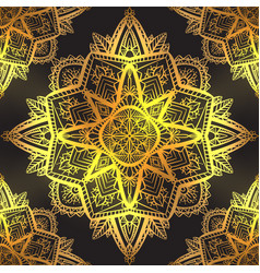 seamless pattern luxury gold mandalas on black vector image