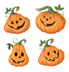 set halloween pumpkins funny faces autumn vector image