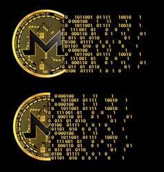 Set of crypto currency monero golden symbols vector