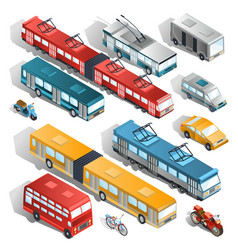 set of isometric of municipal vector image vector image