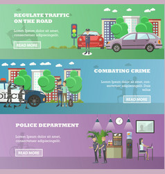 set of police horizontal banners in flat vector image
