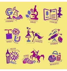 Set with school subjects icons for design vector
