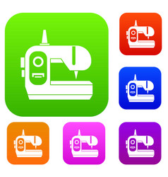 Sewing machine set collection vector