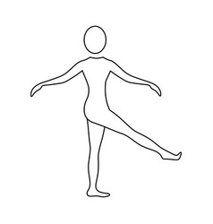 Silhouette woman training her body vector