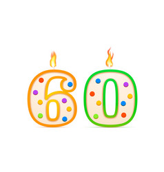 sixty years anniversary 60 number shaped birthday vector image