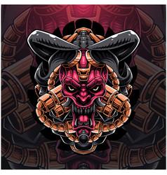 skull head robot mascot logo vector image