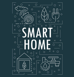 smart home banner outline style vector image