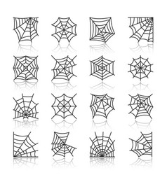 Spider web black line icon set vector