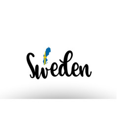 Sweden country big text with flag inside map vector