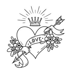 Tattoo heart pierced by arrow with crown ribbon vector