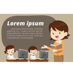 teacher presenting for computer learning vector image