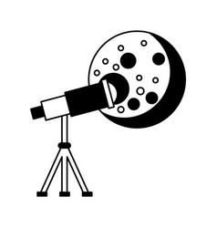 telescope observing the moon vector image