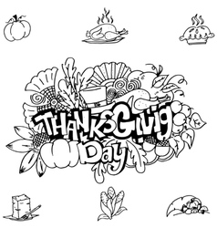Thanks givig hand draw in doodle art vector image