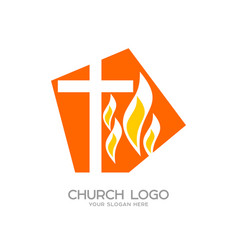The cross of jesus and the flame vector