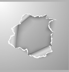 torn hole in sheet paper on transparent vector image