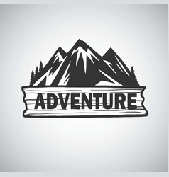 vintage mountain campfire adenture logo vector image