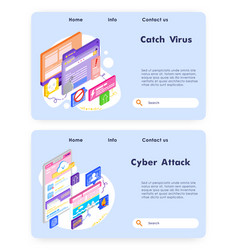 virus attack and cyber security fraud and ransom vector image