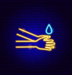 Wash hands neon sign vector