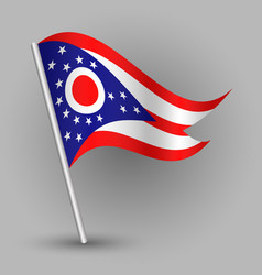 Waving simple triangle american state flag ohio vector