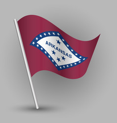 Waving triangle american state flag arkansas vector
