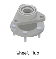 Wheel hub icon isometric 3d style vector