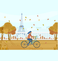 Woman on bicycle in paris autumn fall vector