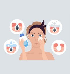 woman using napkin cleaning pore facial cleansing vector image