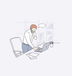 working in office communication concept vector image