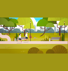 young couple jogging outdoors in modern public vector image