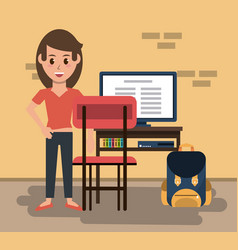 young woman in classroom vector image