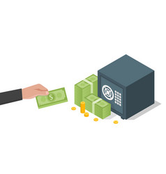 businessman hand holds a stack of green dollars vector image