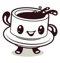 coffee cup cartoon vector image vector image