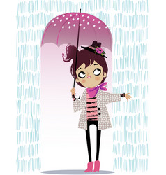 cute autumn girl with umbrella vector image