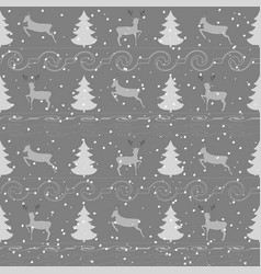 deer and christmas tree seamless pattern 1 vector image vector image
