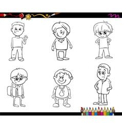 kid boys set coloring book vector image vector image