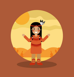 native american indian character female with vector image