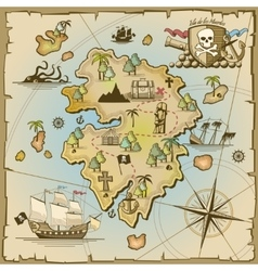 Pirate treasure island map vector