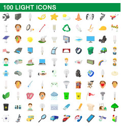 100 light icons set cartoon style vector image vector image