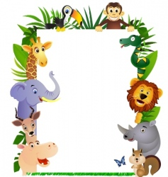 animal cartoon frame vector image vector image