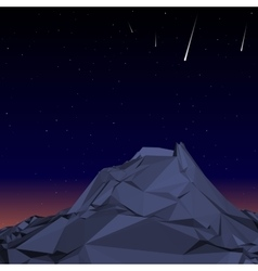 Blue Mountain low polygon landscape night vector image vector image