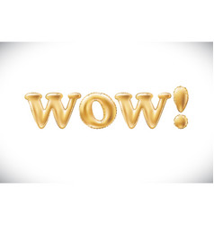 gold wow alphabet balloons acronym and vector image